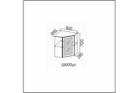 Вектор, Ш600уc/720 Шкаф навесной 600/720 (угловой со стеклом)