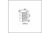 Вектор, Ш600ус/912 Шкаф навесной 600/912 (угловой со стеклом)