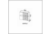 Вектор, Ш850уc/720 Шкаф навесной 850 (угловой со стеклом)