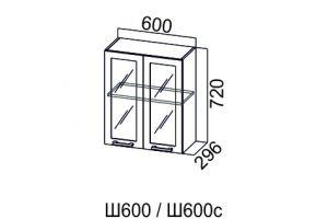 Карамель, Ш600с шкаф навесной распашной со стеклом