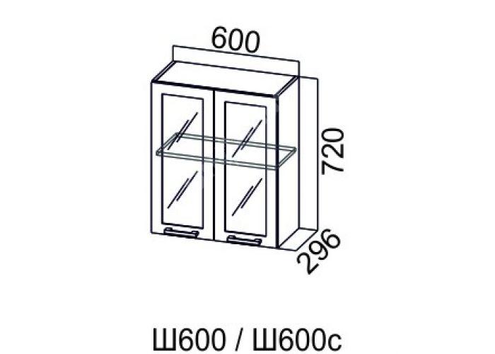 Карамель, Ш600с шкаф навесной распашной со стеклом, Кухни, Модульные кухни, Карамель Ясень шимо светлый / Ясень шимо темный (8300 руб./пог.м), Стоимость 4056 рублей.