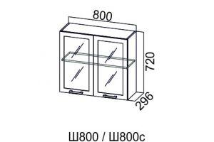 Карамель, Ш800с шкаф навесной распашной со стеклом