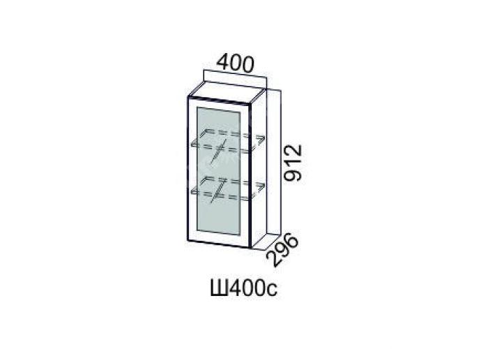 Классика Дуб антик, Ш400с/912 Шкаф навесной (со стеклом)