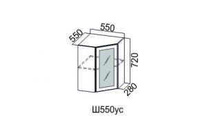 Волна Белый, Ш550ус/720 Шкаф навесной угловой (со стеклом)