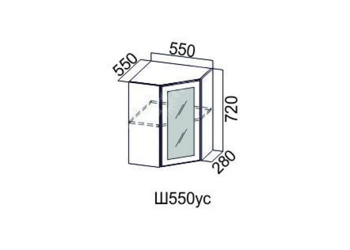 Классика Дуб монументальный, Ш550ус/720 Шкаф навесной угловой (со стеклом), Кухни, Модульные кухни, Стоимость 5612 рублей.