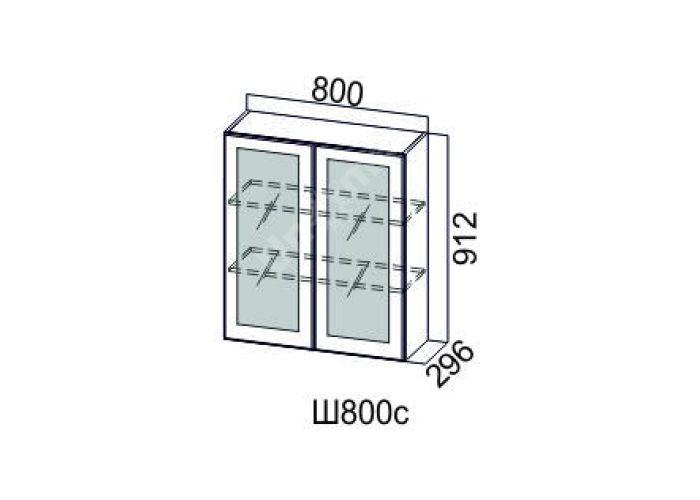 Классика Дуб антик, Ш800с/912 Шкаф навесной (со стеклом)