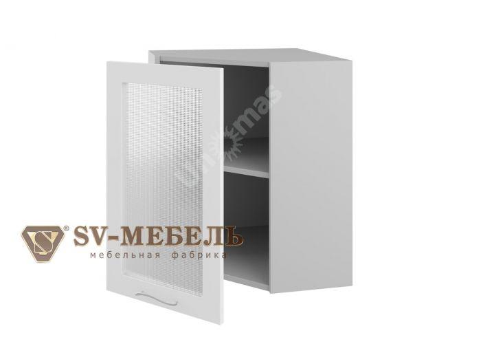 Волна Белый, Ш600ус/720 Шкаф навесной угловой (со стеклом), Кухни, Модульные кухни, Волна Белый (11600 руб./пог.м), Стоимость 5760 рублей.