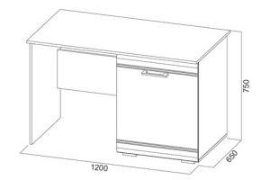 Модульная система №1 Стол (с тумбой под холодильник)
