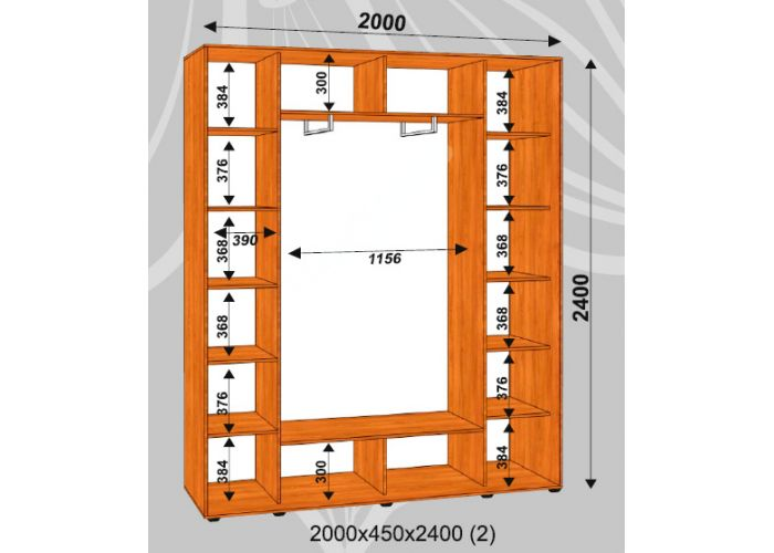 Шкаф-купе Сенатор Лакобель / 2000*450*2400 (2) мм, Шкафы-купе, Стоимость 30975 рублей., фото 2