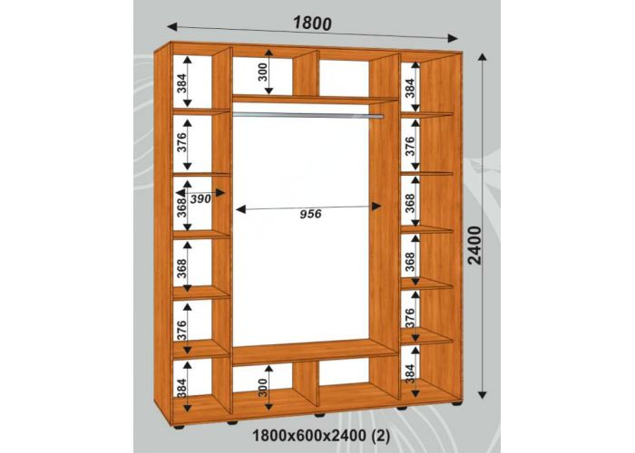 Шкаф-купе Сенатор Лакобель / 1800*600*2400 (2) мм, Шкафы-купе, Стоимость 31950 рублей., фото 2