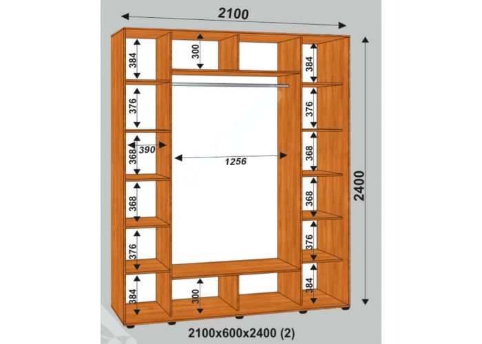 Шкаф-купе Сенатор Лакобель / 2100*600*2400 (2) мм, Шкафы-купе, Стоимость 32925 рублей., фото 2