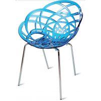 Флора МЛ Пластиковое кресло прозр. синее. хром. ножки