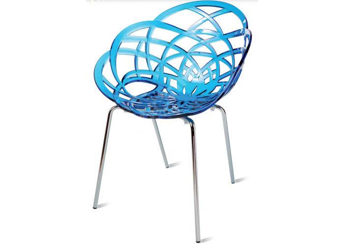 Флора МЛ Пластиковое кресло прозр. синее. хром. ножки, Кухни, Стулья и табуреты, Пластиковые стулья, Стоимость 15585 рублей.