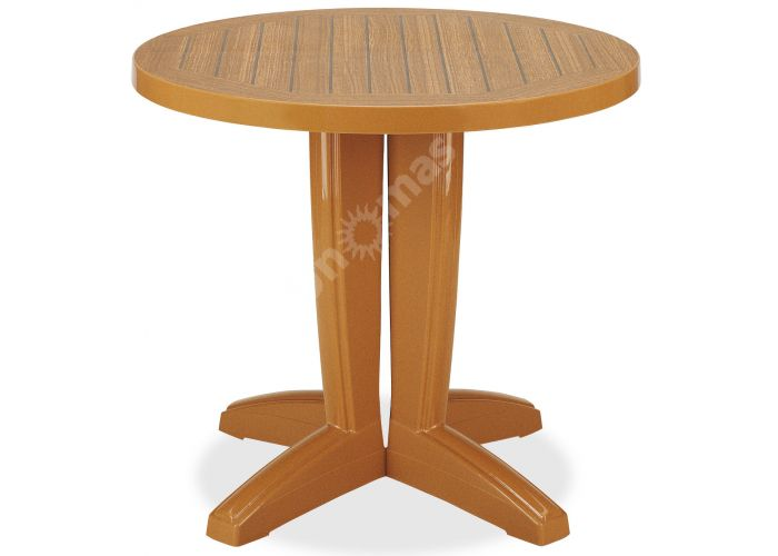 Браво Пластиковый стол Д80 тиковый дерево, Пляж и сад, Уличная мебель, Столы, Стоимость 8460 рублей.
