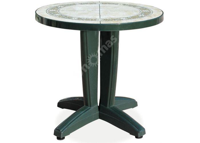 Браво Пластиковый стол Д80 зеленый камень, Пляж и сад, Уличная мебель, Столы, Стоимость 8460 рублей.