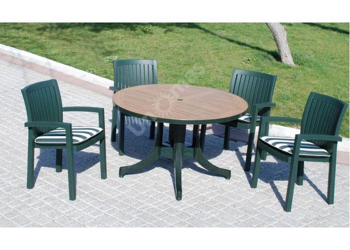 Дива Д90 Пластиковый стол круглый зеленый дерево, Пляж и сад, Уличная мебель, Столы, Стоимость 10305 рублей., фото 2