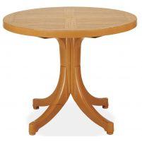 Дива Пластиковый стол круглый тиковый дерево