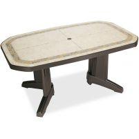 Лагуна Пластиковый стол 100*165 зеленый камень
