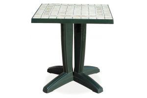 Браво Пластиковый стол 70*70 зеленый камень