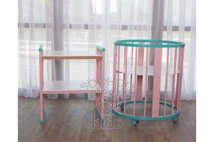 Овальная кроватка (8в1) Бирюзовая & Розовая SURF Platinum