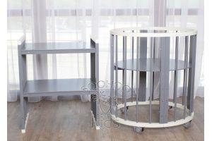 Овальная кроватка (8в1) Молоко & Серая SURF Platinum