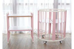 Овальная кроватка (8в1) Молоко & Розовая SURF Platinum