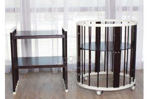 Овальная кроватка (8в1) Молоко & Венге SURF Platinum