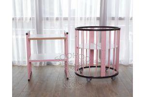 Овальная кроватка (8в1) Венге & Розовая SURF Platinum
