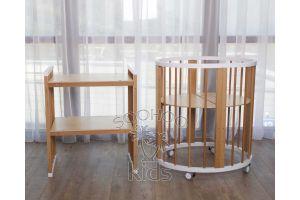 Овальная кроватка (8в1) Белая & Натуральный цвет SURF Platinum