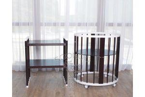 Овальная кроватка (8в1) Белая & Венге SURF Platinum