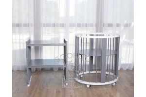 Овальная кроватка (8в1) Белая & Серая SURF Platinum