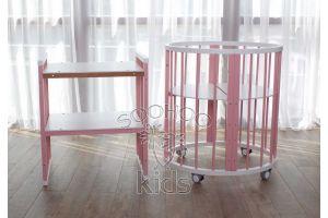 Овальная кроватка (8в1) Белая & Розовая SURF Platinum