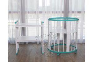 Овальная кроватка (8в1) Бирюзовая & Белая SURF Platinum