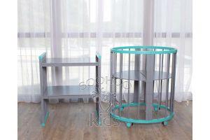 Овальная кроватка (8в1) Бирюзовая & Серая SURF Platinum