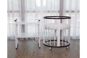 Овальная кроватка (8в1) Венге & Белая SURF Platinum
