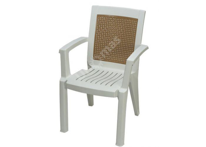 Стул пластиковый CT006 Mimoza белый, Пляж и сад, Уличная мебель, Стулья и кресла, Стоимость 1761 рублей.