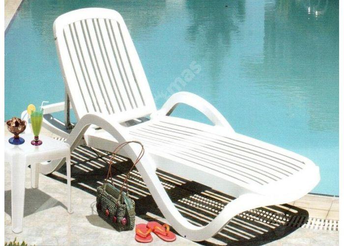 Шезлонг пластиковый HZ-110 Cleopatra белый, Пляж и сад, Пляжная мебель, Шезлонги , Стоимость 5962 рублей.