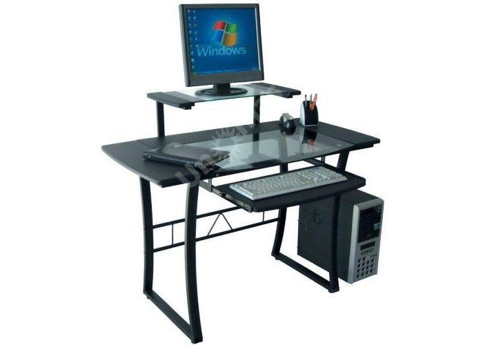Стол WRX-05 прозрачное стекло, черный МДФ / черный каркас, Офисная мебель, Компьютерные и письменные столы, Стоимость 9471 рублей., фото 2