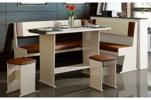 Амиго Кухонный уголок Дуб Девон / Кожзам: Бежевый/Темно-коричневый