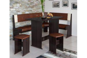 Амиго Кухонный уголок Груша Монтего / Кожзам: Темно-коричневый/Бежевый