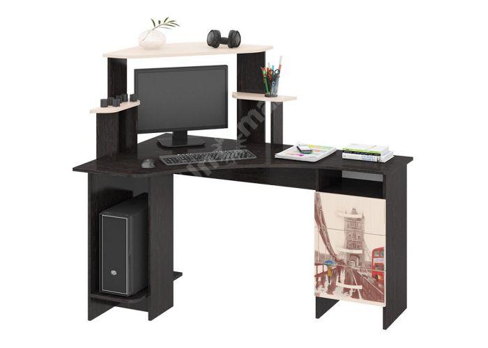 Бумеранг-3Н (М) Стол компьютерный с рисунком левый Венге цава / Дуб молочный, Офисная мебель, Компьютерные и письменные столы, Стоимость 9094 рублей.