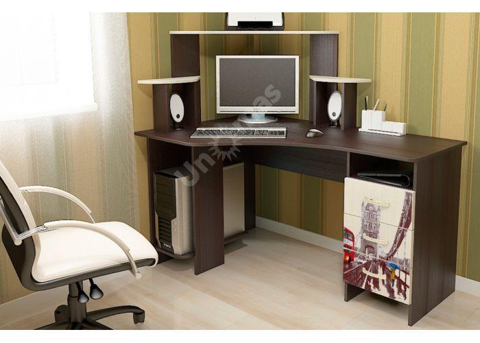 Бумеранг-3Н (М) Стол компьютерный с рисунком левый Венге цава / Дуб молочный, Офисная мебель, Компьютерные и письменные столы, Стоимость 9094 рублей., фото 2