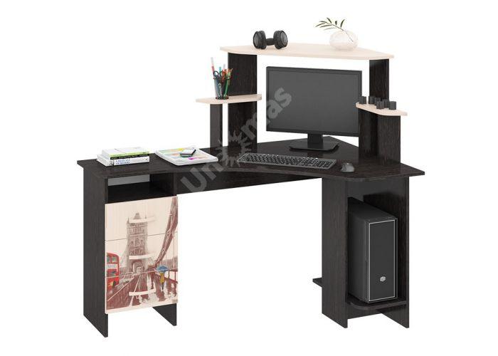 Бумеранг-3Н (М) Стол компьютерный с рисунком правый Венге цава / Дуб молочный, Офисная мебель, Компьютерные и письменные столы, Стоимость 9094 рублей.