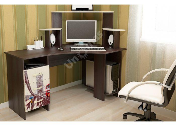 Бумеранг-3Н (М) Стол компьютерный с рисунком правый Венге цава / Дуб молочный, Офисная мебель, Компьютерные и письменные столы, Стоимость 9094 рублей., фото 2