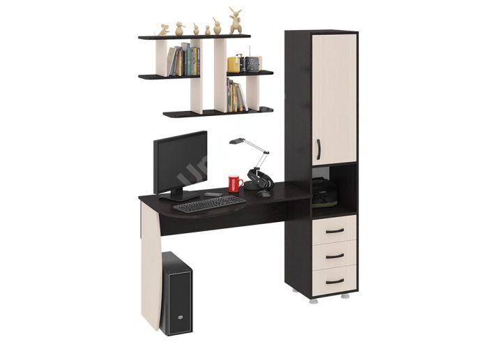 Гимназист (М) Стол компьютерный (комплект с полкой) Венге цава / Дуб молочный, Офисная мебель, Компьютерные и письменные столы, Стоимость 8846 рублей.
