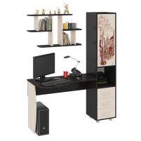 Гимназист (М) Стол компьютерный с рисунком (комплект с полкой) Венге цава / Дуб молочный