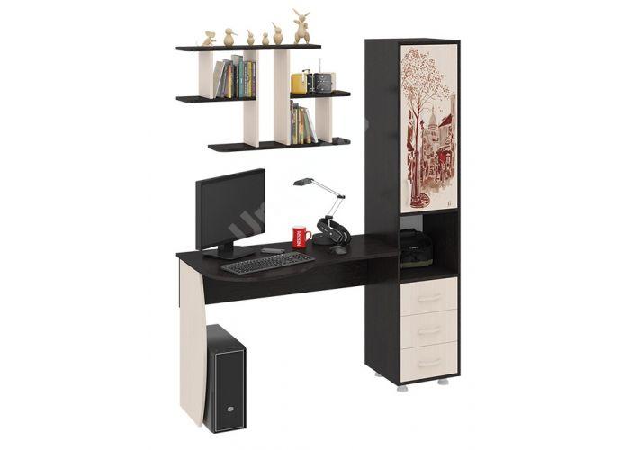 Гимназист (М) Стол компьютерный с рисунком (комплект с полкой) Венге цава / Дуб молочный, Офисная мебель, Компьютерные и письменные столы, Стоимость 9594 рублей.