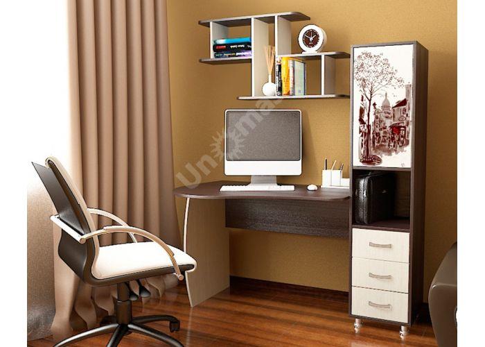 Гимназист (М) Стол компьютерный с рисунком (комплект с полкой) Венге цава / Дуб молочный, Офисная мебель, Компьютерные и письменные столы, Стоимость 9594 рублей., фото 2