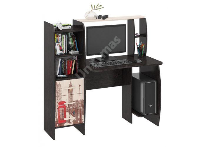 Школьник-Класс (М) Стол компьютерный с рисунком Венге Цава / Дуб молочный, Офисная мебель, Компьютерные и письменные столы, Стоимость 7530 рублей.