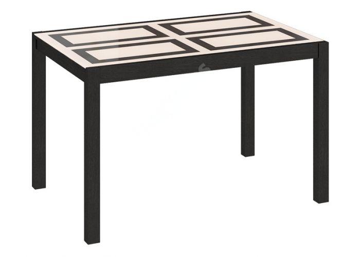 Диез Т5 Стол со стеклом обеденный раздвижной С-346 Венге / Стекло с рисунком, Кухни, Обеденные столы, Стоимость 14841 рублей.